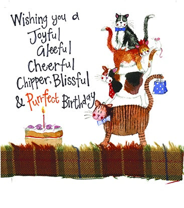Alex Clark | Cat Stack Birthday | Greetings Card