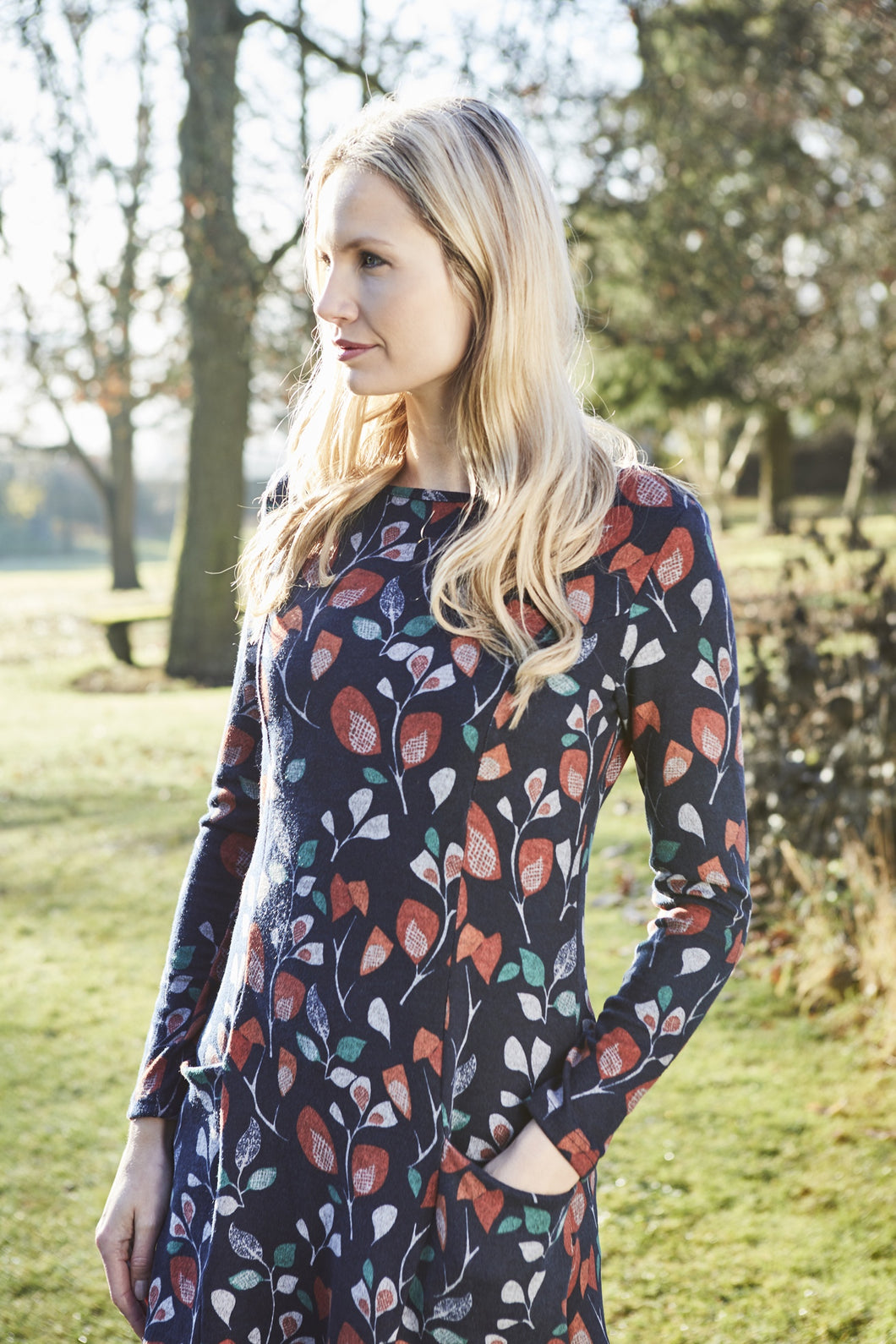 Lily & Me | Winterbourne Tunic Flower Trail | Navy