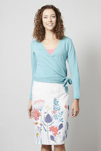 Lily & Me | Border Print Fitted Skirt Floral Meadow | Stone