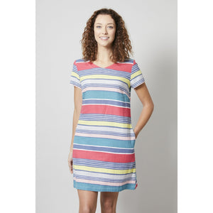 Lily & Me | Shift Dress Stripe | Grey / Coral