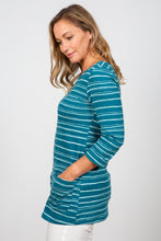 Load image into Gallery viewer, Lily & Me | Coastal Tunic | Painterly Stripe | Dark teal