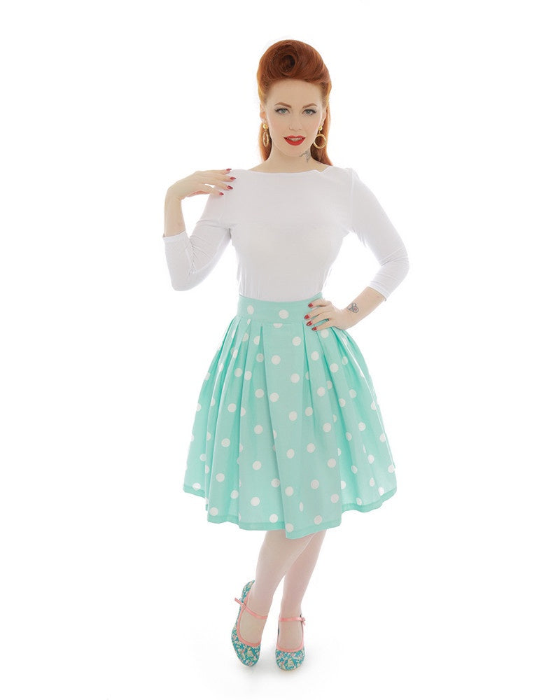 Lindy Bop | Veronika | Polka Dot Swing Skirt | Mint