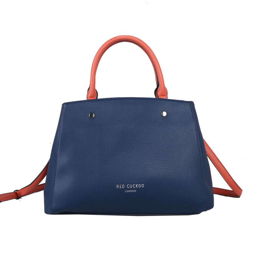 Red Cuckoo London | Tote With Contrast Straps and Clasp Fastening | Navy
