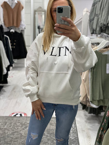VLTN Ruched sleeve logo hoodie - Pure Ladies Boutique
