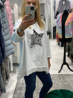 Load image into Gallery viewer, Long Sleeved Frill Hem Star Top - Pure Ladies Boutique