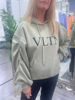 Load image into Gallery viewer, VLTN Ruched sleeve logo hoodie - Pure Ladies Boutique