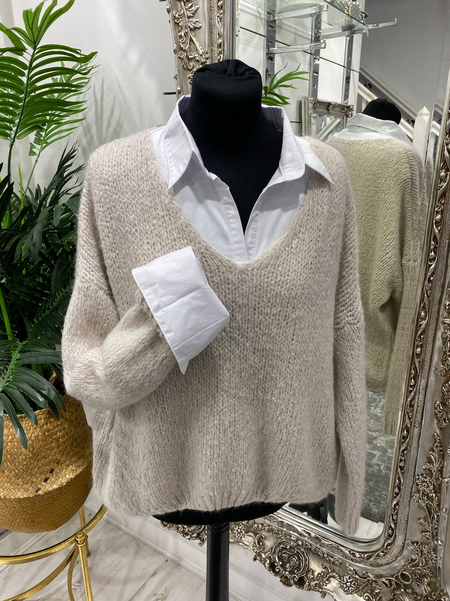 V Neck Fluffy Jumper - 4 colours - Pure Ladies Boutique