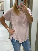 Load image into Gallery viewer, Sequin Pocket T-shirt - 5 colours - Pure Ladies Boutique