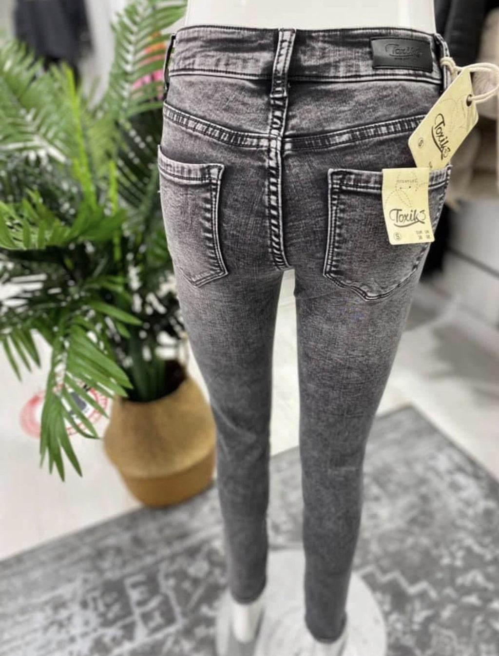 Toxik Jeans - Skinny - Grey Acid Wash - Mid Rise - Pure Ladies Boutique
