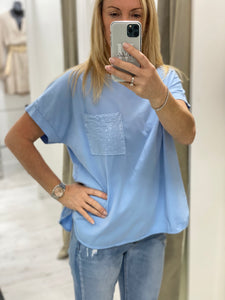 Sequin Pocket T-shirt - 5 colours - Pure Ladies Boutique