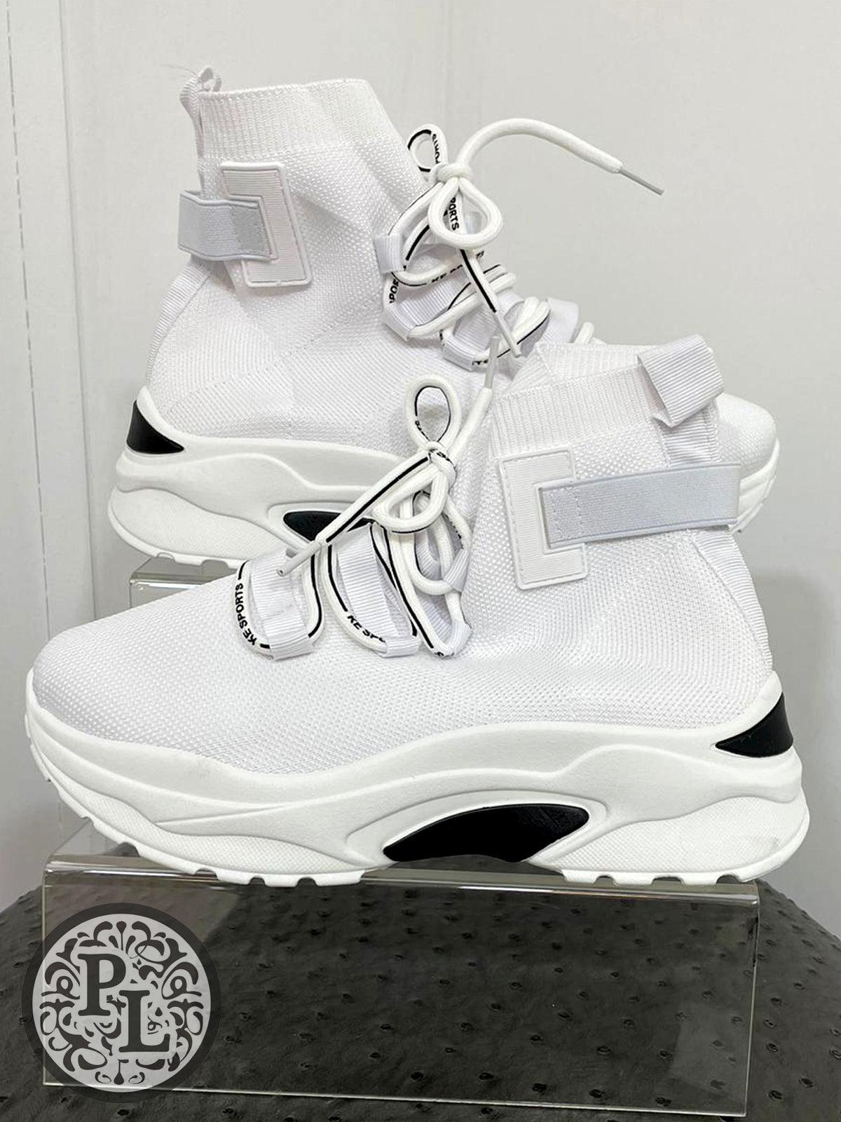 White high top with backstrap trainers - Pure Ladies Boutique