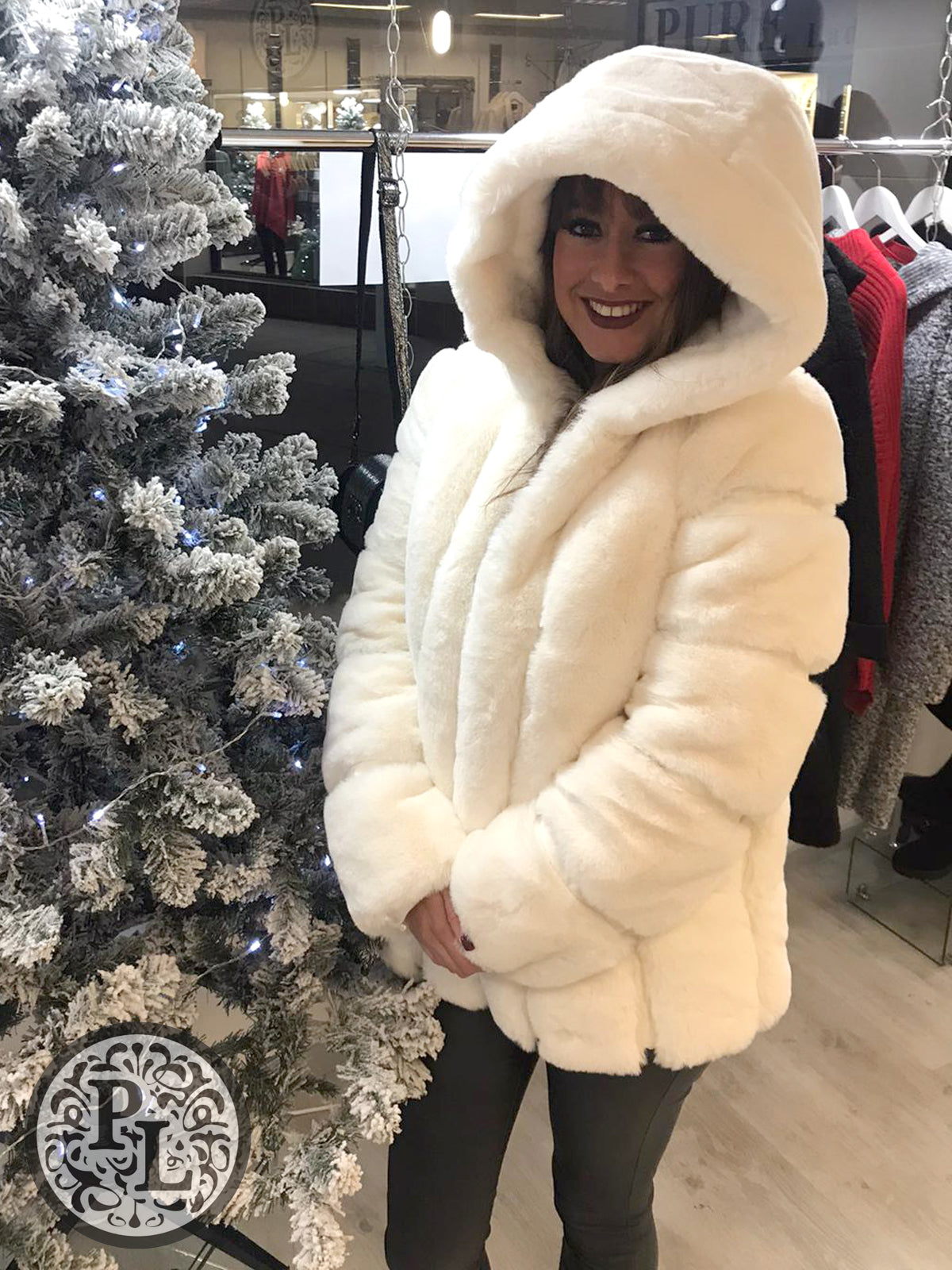 Faux Fur Hooded Coat - NOW HALF PRICE - Pure Ladies Boutique