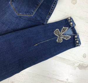 Toxic Glitter Bow Back Jeans - Dark Denim - Pure Ladies Boutique