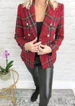 Load image into Gallery viewer, Red Tweed Blazer - Pure Ladies Boutique