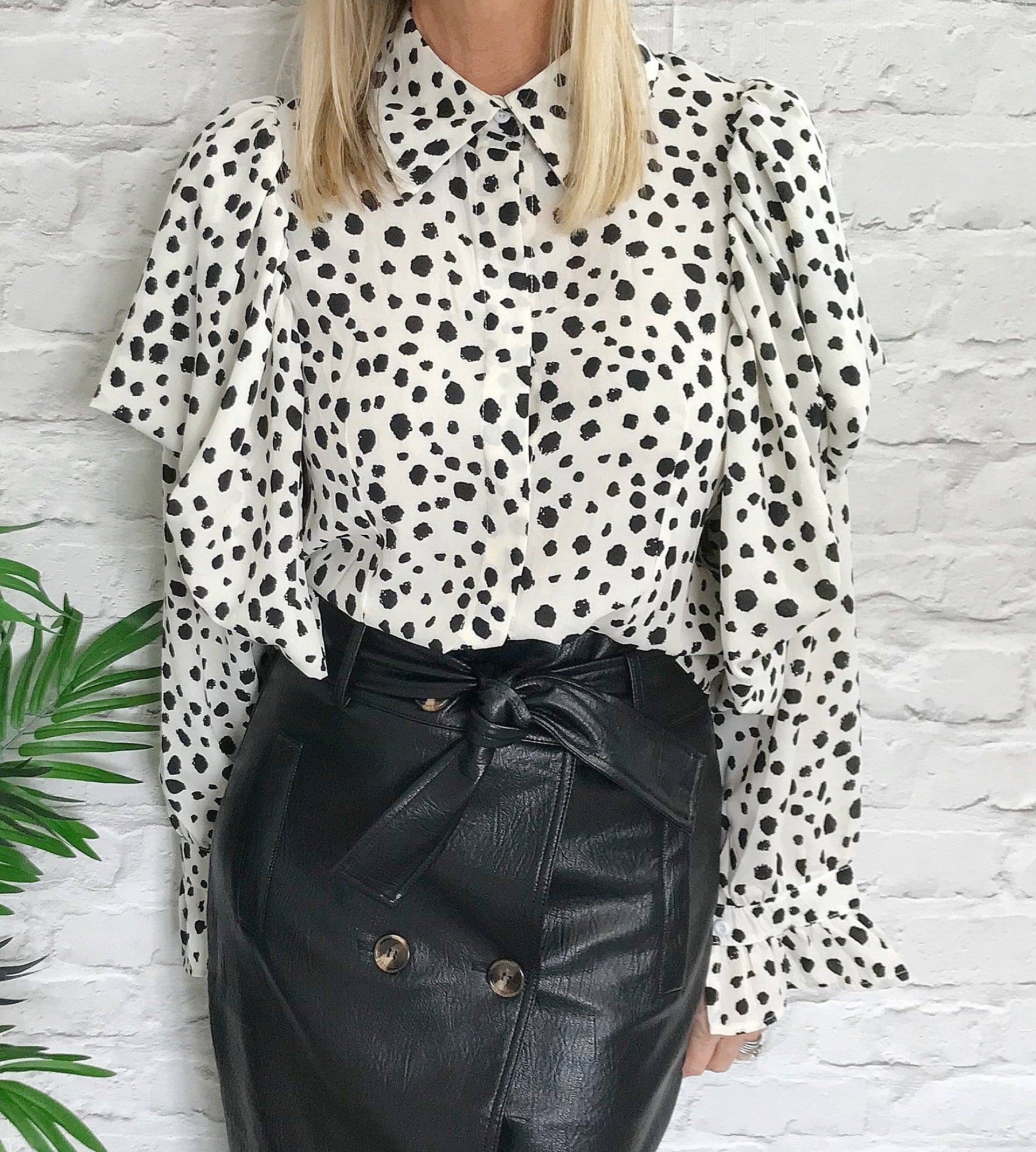 Polka Print Frill Cropped Blouse - Pure Ladies Boutique
