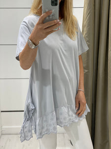 Brodie Broderie Anglaise trim T Shirt - Pure Ladies Boutique