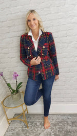 Load image into Gallery viewer, Red & Blue Tweed Blazer - Pure Ladies Boutique