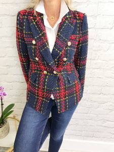 Red & Blue Tweed Blazer - Pure Ladies Boutique