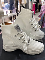 Load image into Gallery viewer, Knit High Top Trainers - White - Pure Ladies Boutique