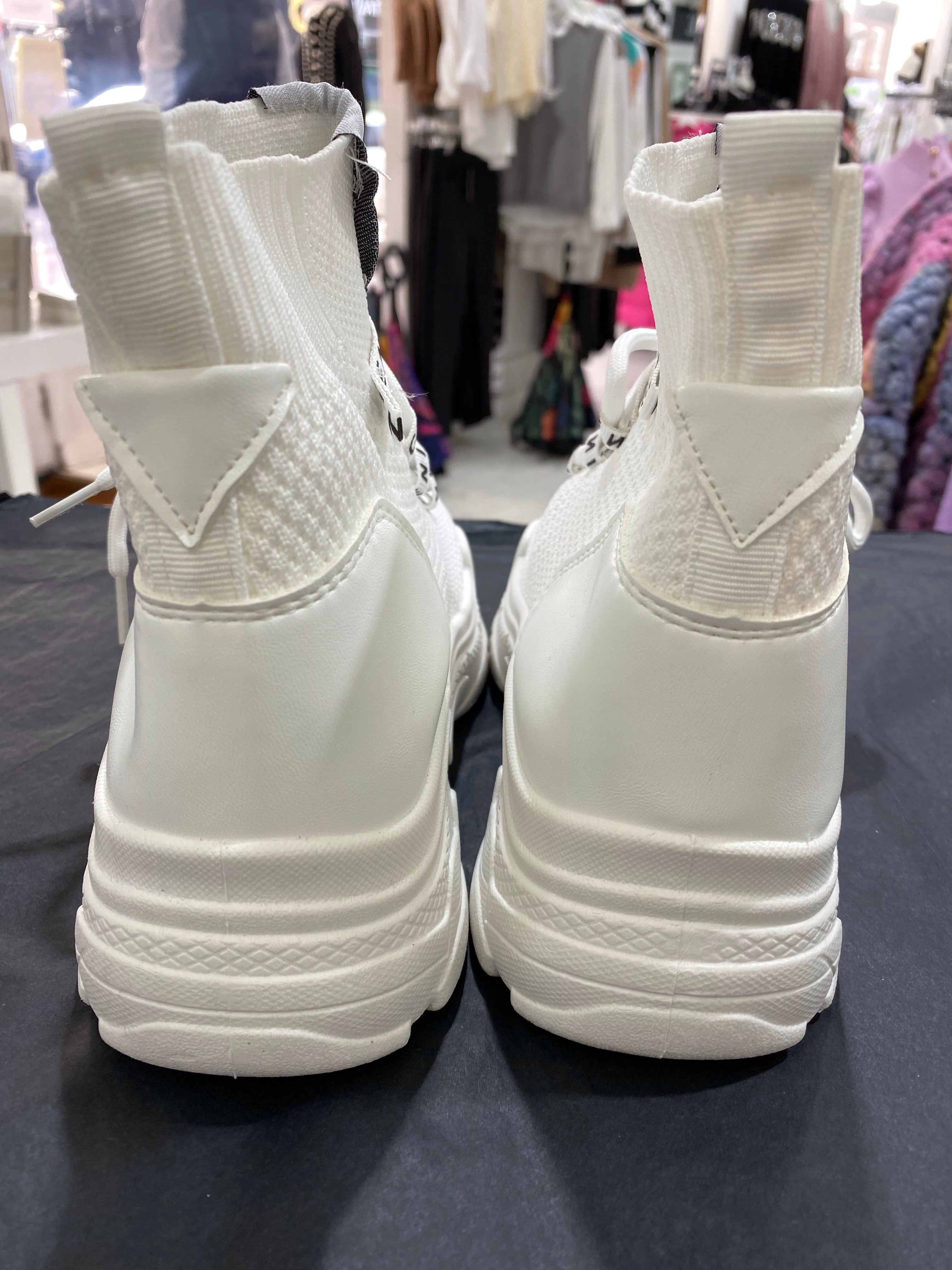 Knit High Top Trainers - White - Pure Ladies Boutique