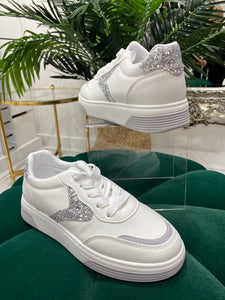 White and Silver Glitter Flash trainer - Pure Ladies Boutique