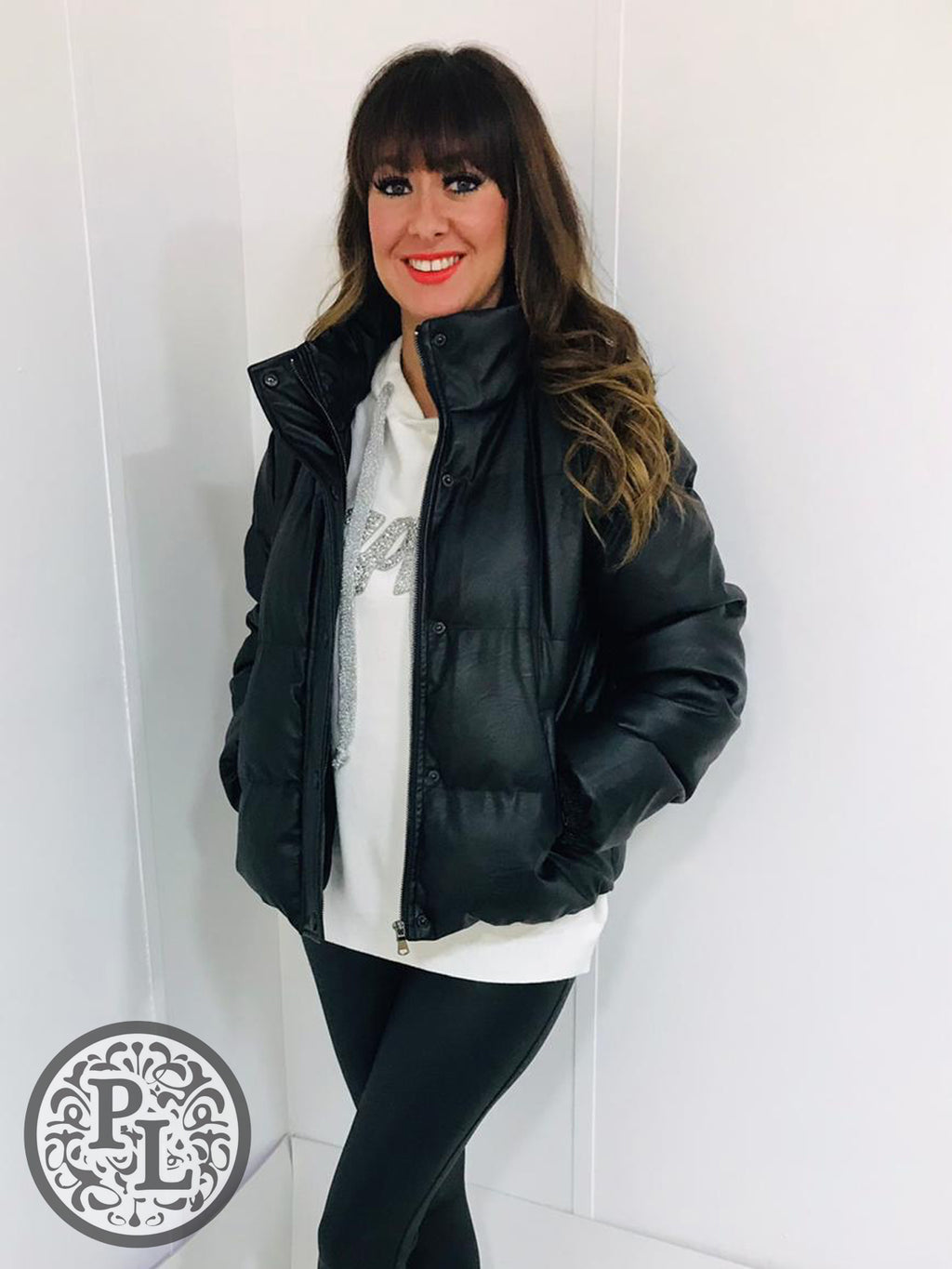 Short Pleather Padded Jacket - Pure Ladies Boutique