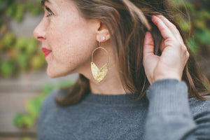 Earring Brass - TULIP SHIELD MINI