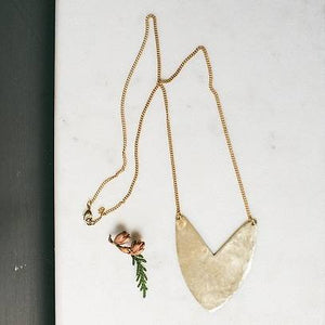 Necklace Brass - TULIP SHIELD