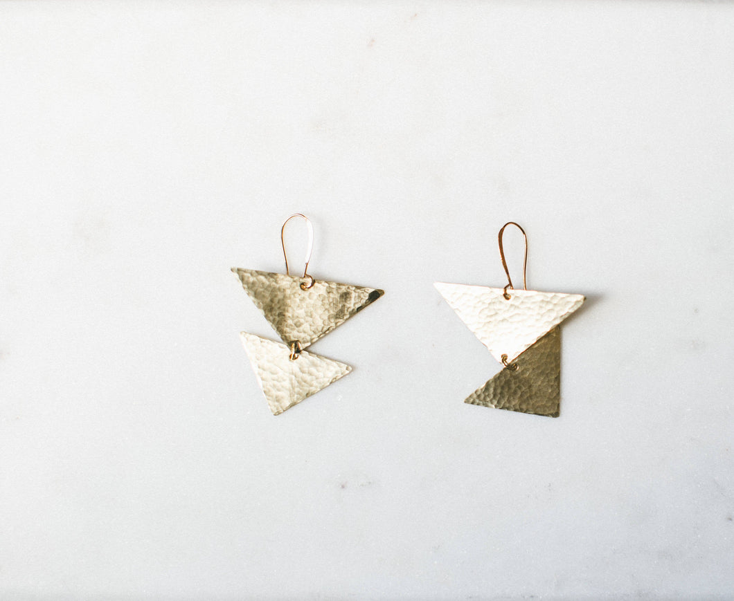 Earring Brass - MINI SHIELD