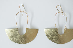 Earring Brass - GODDESS SHIELD TEXTURED