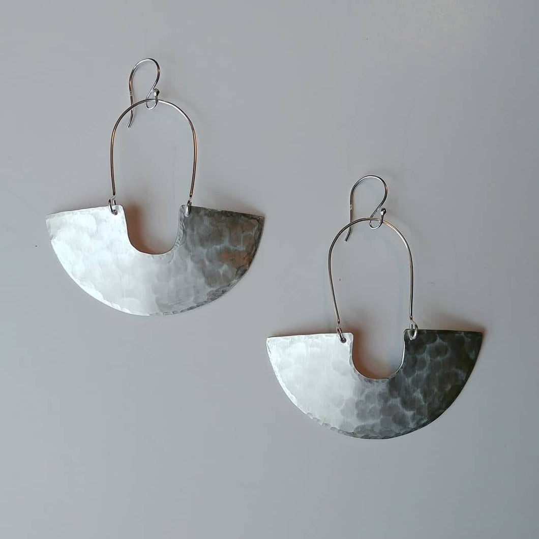 Earring Silver - GODDESS SHIELD TEXTURED