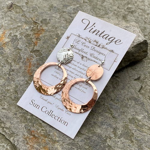 Copper earrings, two circles stacked, bottom textured, one top silver, short sterling wire, vintage bread plate recycled hydro wire