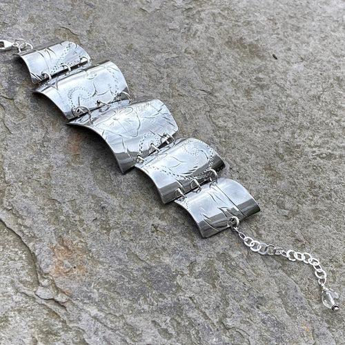5 section floral print silver bracelet vintage recycled restyled artisan Canadian made