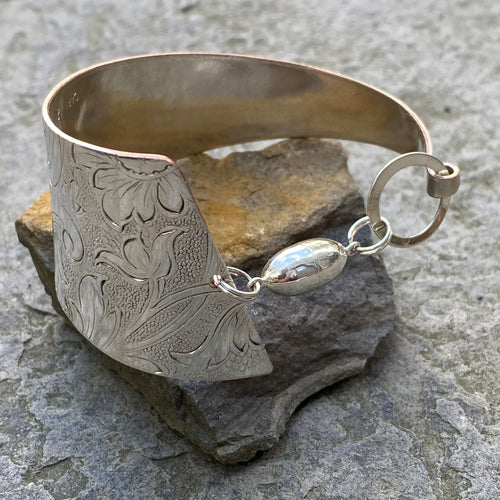 Funky cuff bracelet sterling magnet clasp recycled vintage serving tray restyled wearable art
