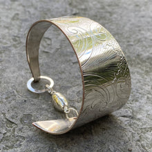 Load image into Gallery viewer, Funky cuff bracelet sterling magnet clasp recycled vintage serving tray restyled wearable art