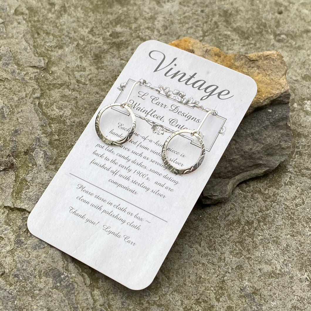 earrings dainty recycled vintage wearable art handmade canadian made sterling silver oneofakind