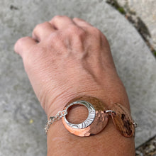 Load image into Gallery viewer, Circle sun wrap bracelet on wrist high shine copper antique recycled silver Canadian handmade