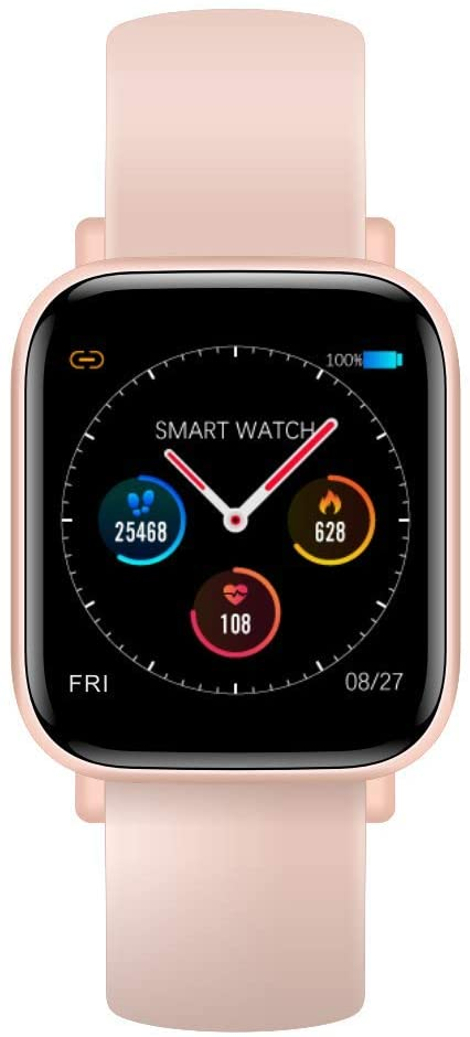 AMATAGE Smart Watch for Men Women(Pink/Extra Band)