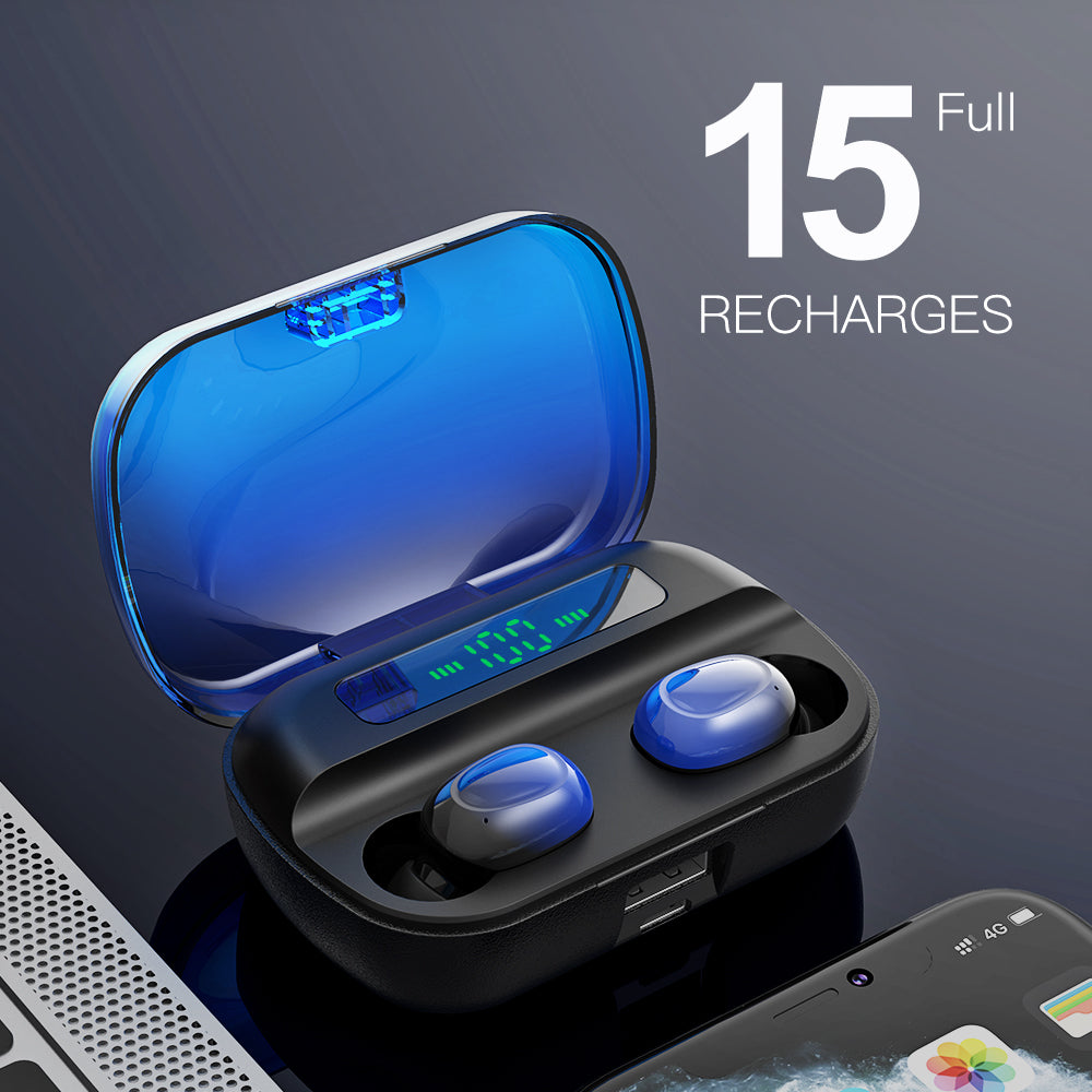 AMATAGE Wireless Earbuds, Bluetooth 5.1 with Deep Bass(Blue)