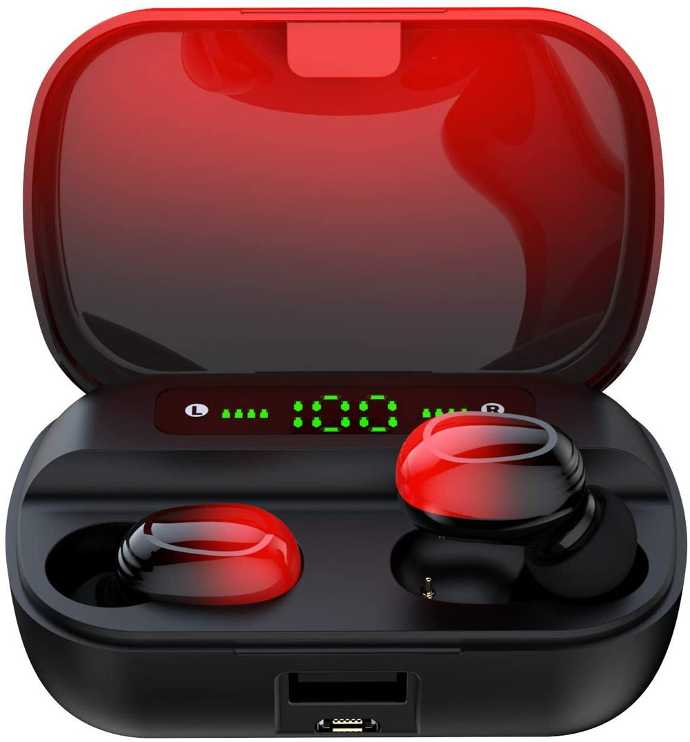 AMATAGE Wireless Earbuds, Bluetooth 5.1 with Deep Bass(Red)