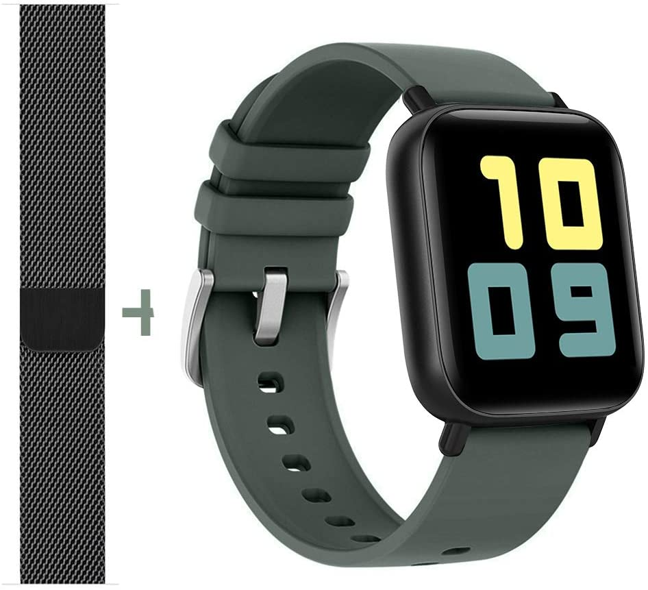 AMATAGE Smart Watch for Men Women(Night Green/Extra Band)