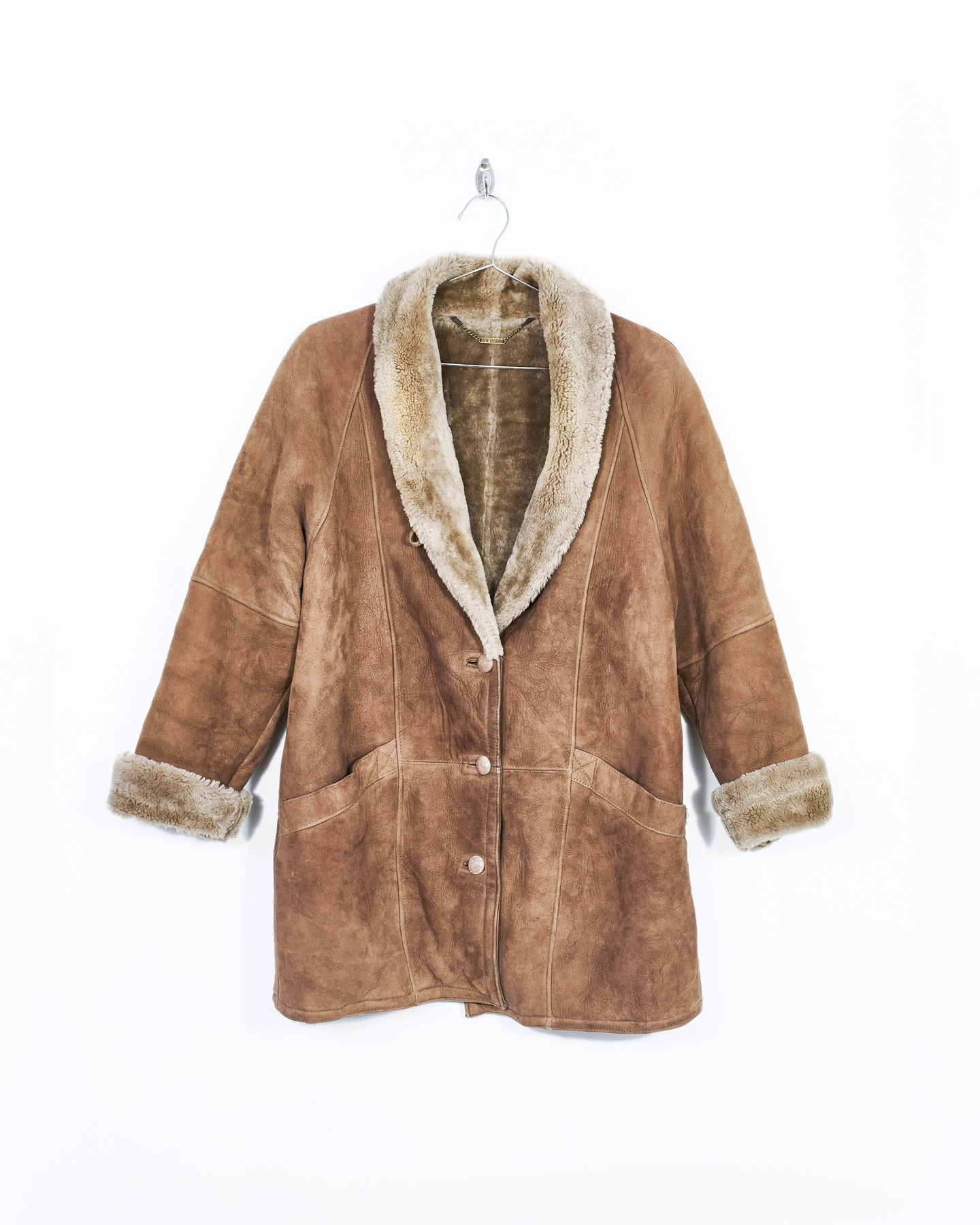 Leather and Fur Shawl Collar Coat