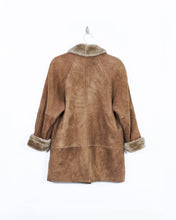 Load image into Gallery viewer, Leather and Fur Shawl Collar Coat