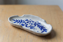 Load image into Gallery viewer, Porcelain Ashtray - Blue Floral Long
