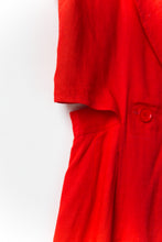 Load image into Gallery viewer, 1980s Red Linen Open Back Dress