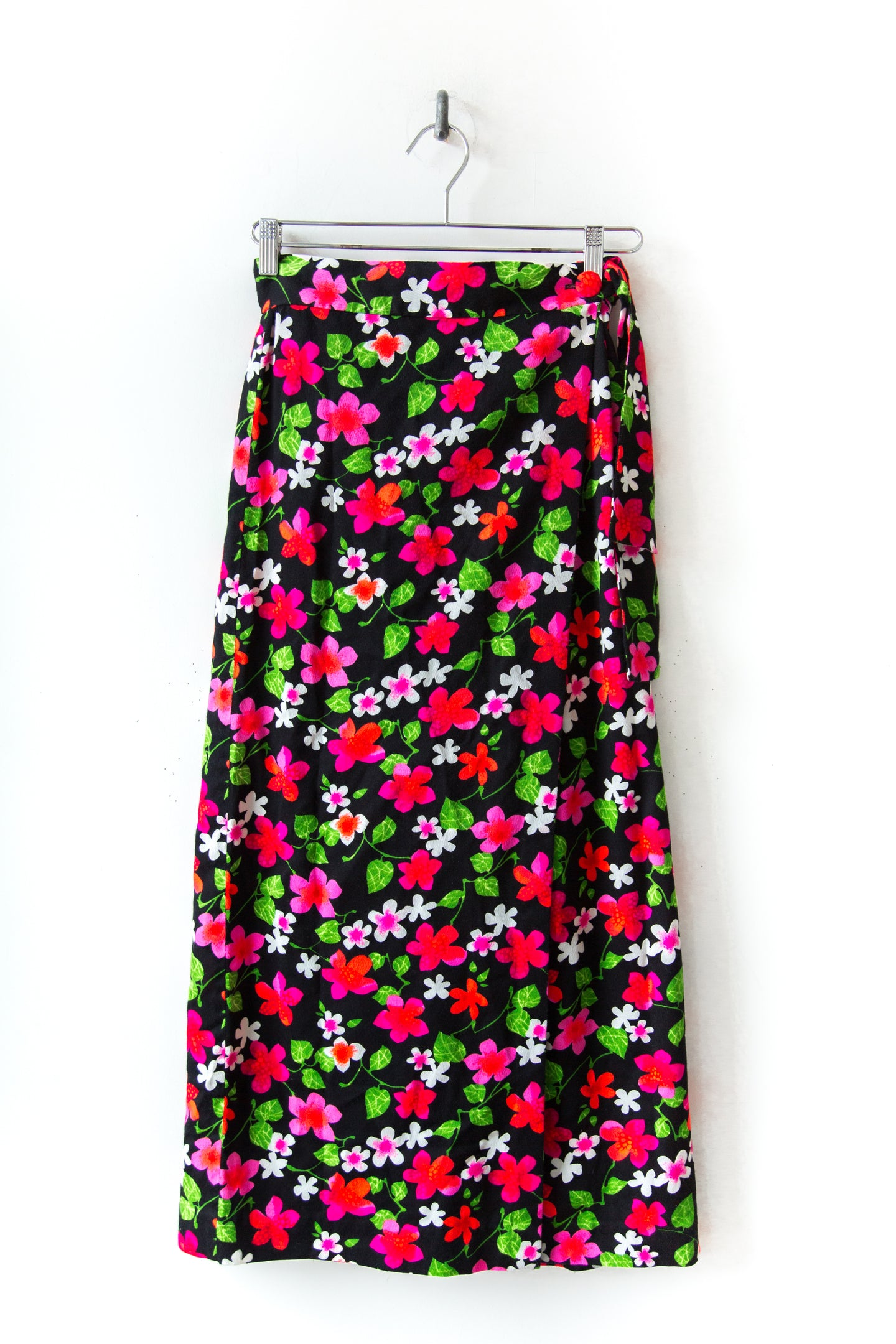 1970s Black Floral Wrap Skirt