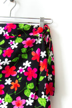 Load image into Gallery viewer, 1970s Black Floral Wrap Skirt