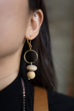 Load image into Gallery viewer, Wood Bead Spiral Earrings