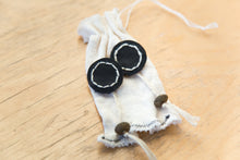 Load image into Gallery viewer, Black Leather Rope Earrings