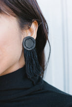 Load image into Gallery viewer, Black Leather Fringe Earrings